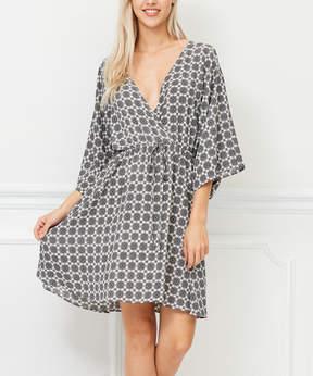 Bellino Off-White & Black Geometric Surplice Dress - Women