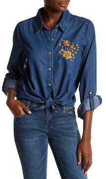 Democracy Embroidered Chambray Button Down Shirt