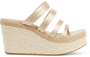 Pedro Garcia Dante Satin Espadrille Wedge Sandals - Cream