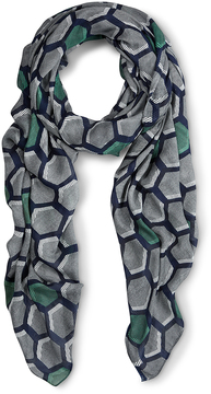 Liebeskind Berlin Orchid Green & Gray Geometric Scarf