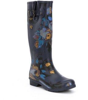 Chooka Nina Floral Print Buckle Strap Tall Rain Boots
