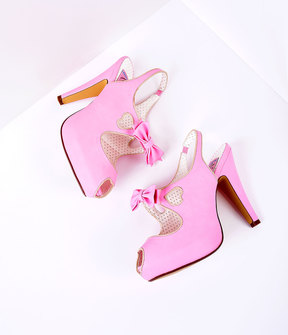 Unique Vintage Pink Leather Heart Cut Out Heels Shoes