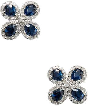 Artisan Women's Floral Sapphire & Diamond 14K White Gold Earrings