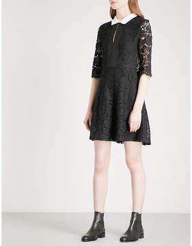 Claudie Pierlot Contrasting-collar floral-lace dress
