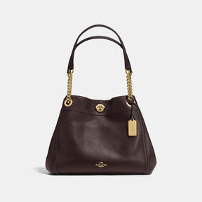 COACH TURNLOCK EDIE SHOULDER BAG IN POLISHED PEBBLE LEATHER - f36855 - LIGHT GOLD/CHESTNUT