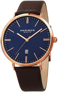 Akribos XXIV Mens Brown Strap Watch-A-935rgbu