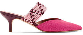 Malone Souliers Maisie Cord-trimmed Raffia And Leather Mules - Pink