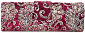 Adrianna Papell Velvet Embroidered Clutch