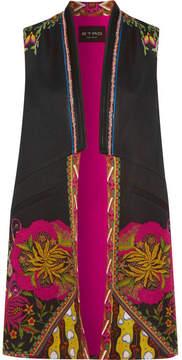 Etro Satin-trimmed Printed Faille Vest - Black