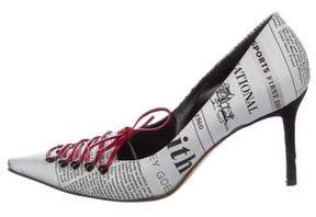 John Galliano Pointed-Toe Lace-Up Pumps