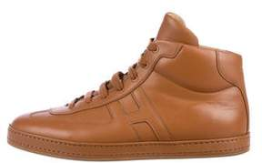 Hermes Leather High-Top Sneakers