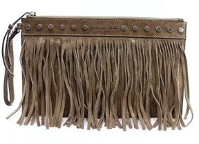 Michael Kors Dark Dune Beige Billy Zip Fringe Clutch Suede Purse - BROWNS - STYLE