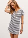 Contrast Striped Curved Hem T-shirt Dress