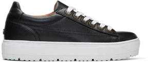 Jil Sander Navy Black Leather Platform Sneakers
