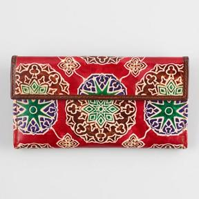 World Market Red Tile Leather Wallet