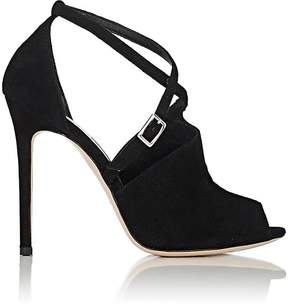 Barneys New York WOMEN'S ASYMMETRIC-VAMP SUEDE SANDALS