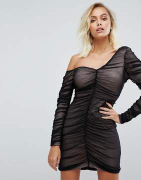 Fashion Union One Shoulder Dress With Sheer Mesh Ruching