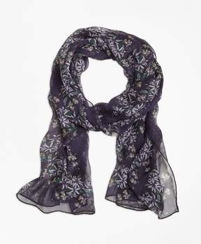 Brooks Brothers Wildflower-Print Silk Chiffon Oblong Scarf