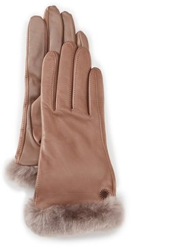 UGG Classic Shearling-Cuff Leather Tech Gloves