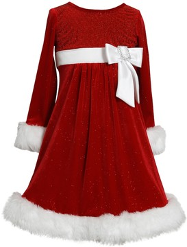 Bonnie Jean Girls 7-16 & Plus Size Velvet Faux-Fur Santa Dress