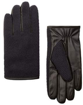 Mango Outlet Contrast leather gloves