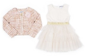 Nicole Miller Textured Jacket with Flower Applique & Lace Top Glitter Tulle Bottom Dress Set (Little Girls)