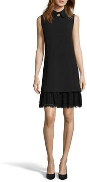 ECI Women's Embellished Crepe Shift Dress