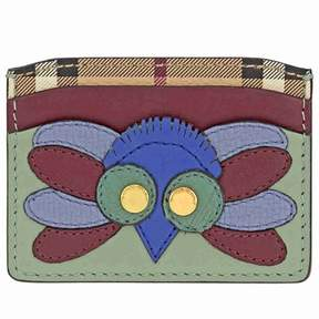 Burberry Beasts Motif Haymarket Check and Leather Card Case 4055229
