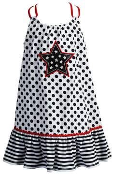 Youngland Baby Girl Polka-Dot Star Applique Patriotic Sundress