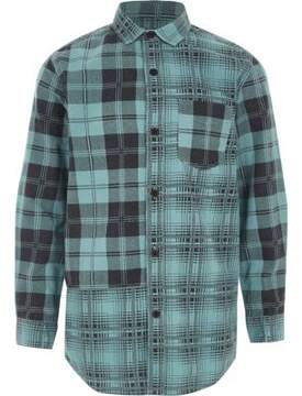 River Island Boys blue check long sleeve shirt