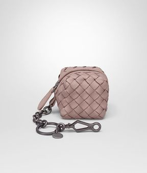 Bottega Veneta Key Ring In Desert Rose Intrecciato Nappa Leather