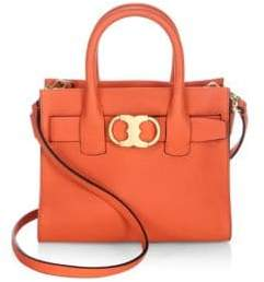 Tory Burch Gemini Link Small Leather Satchel - SPICY ORANGE - STYLE