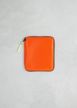 Comme des Garcons WALLET light orange super fluo leather line wallet