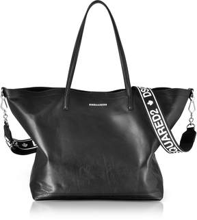 DSQUARED2 Black Leather Shopping Bag w/Detachable Signature Logo Strap