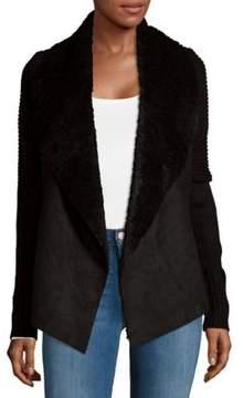 Context Open Front Faux Fur Cardigan