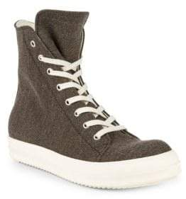 Rick Owens Textured High-Top Sneakers