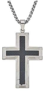 Armani Exchange Jewelry Mens Carbon Fiber Cross Pendant In Stainless Steel.