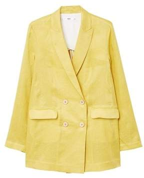 MANGO Linen double-breasted blazer
