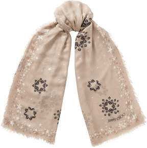 Jimmy Choo ESTER Ballet Pink and White Printed Shawl