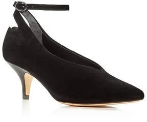 Halston Women's Belle Suede Mid Heel Pumps