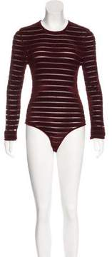 Ronny Kobo Striped Long Sleeve Bodysuit w/ Tags