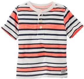 Osh Kosh Boys 4-12 Striped Henley Slubbed Tee