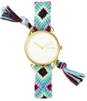 RumbaTime Jane Goldtone White Dial Interchangeable White, Purple and Blue Braided Strap Watch