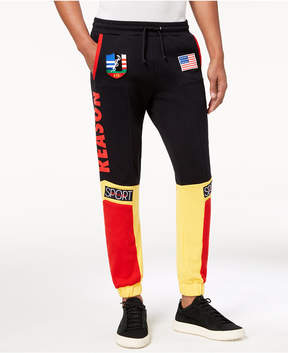 Reason Men's Explorer Colorblocked Logo-Print Patch Joggers
