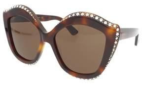 Gucci Swarovski Clear Crystal Trim Brown Cat Eye Ladies Sunglasses GG0118S-003 53