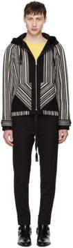 Saint Laurent Black and White Baja Hooded Jacket