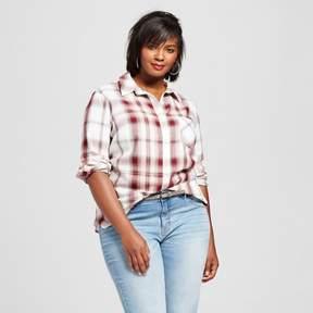 Ava & Viv Women's Plus Size Button Down Plaid Shirt Blush