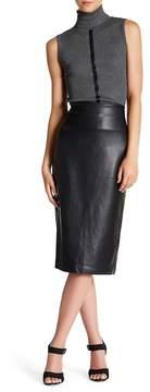 Catherine Malandrino Faux Leather Midi Pencil Skirt