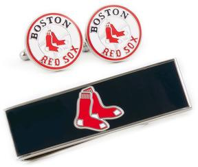 Ice Boston Red Sox Cufflinks and Money Clip Gift Set