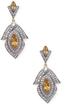 Artisan Women's Designer leaf shape Earring with Citrine and Diamond